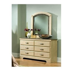 Standard Furniture - 6-Drawer Dresser with Mirror - Set includes: Dresser and Mirror. Architectural sophistication works together. Rounded drawer fronts and simulated marble tops illustrate modern style and sophistication. Cast metal hardware encompasses a progressive look with a dull nickel finish. French dovetail construction throughout enhances durability. Roller side drawer guides provide ease and convenience. Top drawers are felt lined to protect delicate items. Beautiful Daring ash finish. Rich faux marble stone tops present attractive. Dresser: 16 in. W x 58 in. L x 32 in. H (127 lbs.). Mirror: 37 in. L x 41 in. H (35 lbs.)