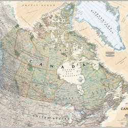 Magic Murals - Executive Canada Map Wall Mural  -- Self-Adhesive Wallpaper in Various Sizes by - Executive map of the country of Canada. Artwork. National Geographic Collection / NG Maps 2011.