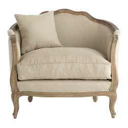 Natural Linen Settee - The soft, elegant look of this linen-covered chair would work beautifully in any traditional room.