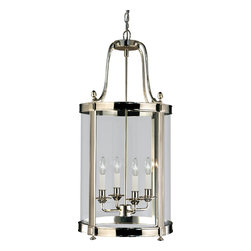Robert Abbey - Blake Pendant, Polished Nickel - Simply sophisticated! This pendant fixture features five candelabra arms encased within four glass panels to cast delicate light into your favorite setting. Available in a variety of finishes, it's an illuminating addition wherever you hang it.