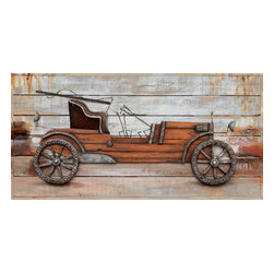 Yosemite Home Decor - Classic Automobile Art - Yosemite Home Decors DCA0149B is a wonderful composition which depicts a vintage car. The artwork has the power to take you back to the industrial era. On a wooden background, which adds to the paintings vintage look, we can see the minimalistic form of the car which consists of a wooden body combined with lights, wheels and steering mechanisms made out of steel. All of the components stand out from the background giving it a three dimensional appearance. Its simplicity is the key to understanding the basics of the automotive industry. This painting is the proof of human ingenuity and portraits the creativity and ambition of man kind. The DCA0149B might just be the element required to give the owners home a sense of history. It will certainly attract the undivided attention of car lovers. This work of art is hand painted on a gallery wrapped canvas and signed by the artist ensuring each piece has some subtle differences making it distinctly unique to each owner. The high quality canvas wraps tightly around a sturdy wooden frame that will last for years to come. The painting comes with either a pre-strewn wire or hinges on the back so that it's ready for immediate wall mounting. The light weight of the piece allows for easy hanging without worry of damaging your wall. The acrylic paint creates a rich texture that will really catch the light, creating a very sophisticated allure. Each painting is carefully packaged and inspected prior to shipping, ensuring every piece arrives safely and ready to hang on your wall, making for a pleasant purchasing experience from beginning to end.