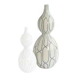Linking Trellis Double Bulb Vase, Large - White double bulb vase featuring a hand-painted blue trellis design throughout. Gives a simple elegant touch to any room!