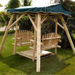 Moon Valley Rustic Furniture - Moon Valley Adirondack Double Glider Swing and Frame - M200-UNFINISHED - Shop for Gliders from Hayneedle.com! Everyone will want to relax in the Moon Valley Adirondack Double Glider Swing and Frame. A fun way to chat and relax this double glider is heavy-duty and made of sturdy white cedar and white pine in two rustic finish options. The handy footboard adds to the comfort and the sturdy double A-frame keeps you balanced in style. About Moon Valley Rustic Furniture Since 1928 Moon Valley has been all about one thing: crafting the finest wooden outdoor furnishings for your home. Though times have certainly changed in the past 70 years Moon Valley's dedication to beautifully meticulously crafted products has remained constant. Starting with the finest northern white cedar or ponderosa pine each Moon Valley product is handcrafted using classic sturdy doweled construction which ensures lasting durability and function. An established family company with decades of experience Moon Valley remains true to old-fashioned dependability quality and impeccable customer service.