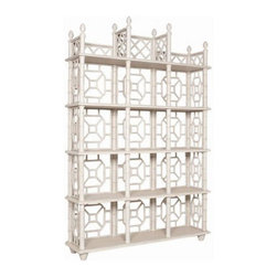 Fretwork Display Étagère - Bookcases don't need to be boring, and this faux bamboo fretwork étagère is anything but. Display books, the kids' artwork and other trinkets on the shelves.