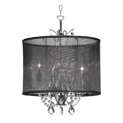 "Joshua Marshal Home Collection - 3-Light 14"" Crystal Mini Chandelier with Black Organza Shade - This chandelier places its components together in an unexpected way for a unique, modern presence. The stunning organza shade diffuses the light in a seductive, new way. Strands of crystal act as a romantic addition to this already unique look. A chrome finished fixture completes the contemporary look."