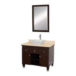 Wyndham Collection - Eco-Friendly Bathroom Vanity with White Porcelain Sink - Includes natural stone counter, backsplash, one vessel sink and matching mirror. Faucets not included. Engineered to prevent warping and last a lifetime. Highly water-resistant low V.O.C. finish. 12 stage wood preparation, sanding, painting and finishing process. Floor standing vanity. Deep doweled drawers. Fully extending bottom mount drawer slides. Soft close concealed door hinges. Single hole faucet mount. Plenty of storage space. Brushed steel leg accents. Metal hardware with brushed chrome finish. Two doors and two drawers. Ivory marble top. Made from zero emissions solid oak hardwood. Espresso finish. Vanity: 36 in. W x 22.5 in. D x 36 in. H. Mirror: 24.25 in. W x 36.25 in. HCutting edge, unique transitional styling. A bridge between traditional and modern design, and part of the Wyndham Collection Designer Series by Christopher Grubb, the Premiere Single Vanity is at home in almost every bathroom decor, resulting in a timeless piece of bathroom furniture.