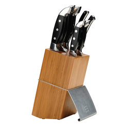 "Berghoff - Berghoff Orion Knife Block Set 7pc. - Set includes: 3 1/2"" paring knife, 5"" utility knife, 8"" chef's knife, 8"" carving knife, 8"" bread knife and poultry shears in a stylish blonde wood block. - The blade is high-quality stainless steel and is hand-sharpened and provided with a quality label. The handles are ergonomically molded for a safe and comfortable grip. Thanks to the addition of a metal counterbalance in the handle, you get a perfect balance between the blade and the handle. Easy to sharpen."