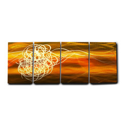 Miles Shay - Metal Art Wall Art Decor Abstract Contemporary Modern- Torrent in Brown - This Abstract Metal Wall Art & Sculpture captures the interplay of the highlights and shadows and creates a new three dimensional sense of movement as your view it from different angles.