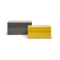 "IMAX CORPORATION - Watson Storage Boxes - Set of 2 - A high gloss finish accents the large graphite and small yellow Watson storage boxes, great for a modern fem vanity or gentlemen's dresser, this set is a must have for any decorating savvy home.  Set of 2 boxes measuring 5.75""H x 6.5""W x 11.5""L and 6.75""H x 8""W x 13.5""L each. Find home furnishings, decor, and accessories from Posh Urban Furnishings. Beautiful, stylish furniture and decor that will brighten your home instantly. Shop modern, traditional, vintage, and world designs."