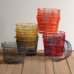 Colored Round Wire Potato Baskets - This uniquely styled storage piece features the vintage look of antique wire-ware in modern day colors. Use for fruits and vegetables in the kitchen or soaps and lotions in the bath. Baskets are stackable.