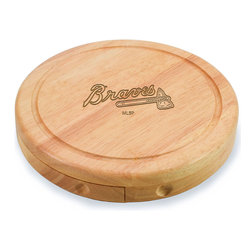 """Picnic Time - Atlanta Braves Brie Cheese Board Set in Natural - The Brie cheese board set is the perfect sized accessory for a small party or get-together. The board is a 7.5"""" swivel-style, split level circular cutting board made or eco-friendly rubberwood that swings open to reveal the cheese tools housed under the board. The three stainless steel cheese tools have rubberwood handles. Tools included are a hard cheese knife, a chisel knife (hard crumbly cheese), and a cheese fork. A carved moat surrounds the perimeter of the board which helps to prevent brine or juice run-off. The Brie makes a delightful gift.; Decoration: Laser Engraved; Includes: 3 Stainless steel cheese utensils (1 hard cheese knife, a chisel knife (hard crumbly cheese), and cheese fork) with wooden handles"""