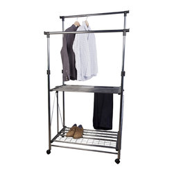 Danya B - Folding Telescopic Double Garment Rack on Wheels - Folding Telescopic Double Garment Rack is like a rolling laundry. It provides two fully adjustable hanging rods,two wire shelves and four wheels to roll and it folds completely for storage. Easy to fold and adjust,easy to move,strong and durable!