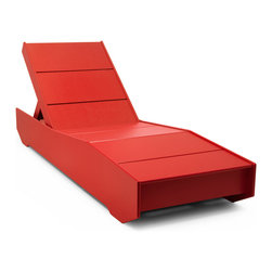 The 405 Outdoor Chaise Lounger - Nobody likes sitting on the freeway, but most everyone likes sitting by the pool. We thought naming an outdoor chaise after the busiest freeway in the USA was appropriate; now you can skip work and tell everyone you are stuck on The 405 without lying. The 405 Outdoor Chaise Lounger is designed to work exceptionally well in the sun and near the pool once you get off the freeway. The movable back rest has five settings, including flat, and there is a convenient shelf exposed when the back is up that will help keep your poolside accessories off the ground. Ideal as a pool lounge chair, the recycled poly is unaffected by wet conditions, lotions and spilled beverages. The overall weight of The 405 will ensure it doesn't blow into the pool. Hidden wheels on one end make it easy to move, but probably won't work very well on the entrance ramp. Available in 10 colors and ships assembled.