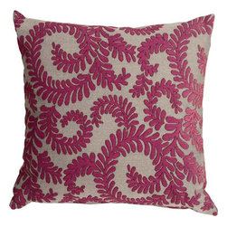 Pillow Decor - Pillow Decor - Brackendale Ferns Pink Throw Pillow - Made from a beautiful and hard wearing upholstery fabric, this throw pillow features a stylized swirling leaf pattern. Suitable for contemporary or traditional decor schemes, you will love the fabric quality. The background of the pillow is a simple tight weave in black and light gray. The leaves are in a soft raspberry pink chenille that contrasts beautifully against the texture of the background fabric.