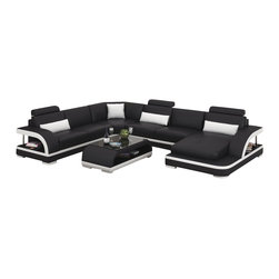 Scene Furniture - Cobra Leather Sectional, Black W Snow White Trim, No Matching Coffee Table - The Cobra leather sectional from Scene Furniture is a dynamic new addition to our sofa line. With curvy armrests and stainless steel pillars supporting the ends, this design is one of our very best. The matching throw pillows are all included and the matching coffee table, which is optional, is produced with a sleek black-tinted glass top.