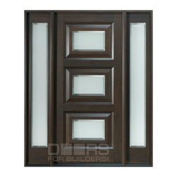 Modern Collection (Custom Solid Wood Doors) - Custom Front Entry Door -  Single with Sidelites - Modern Collection - Doors For Builders Inc.