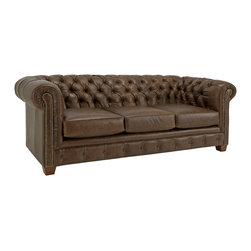 None - Hancock Tufted Distressed Brown Italian Leather Sofa - Add a luxurious piece of furniture to your living room or office with this brown Italian leather sofa from Hancock. It features a tufted back for extra comfort, and the distressed leather with brass finish studs provides a vintage appearance.