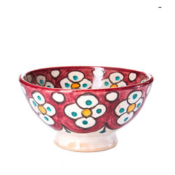 "4"" (12 cm) Fes Pottery Bowl, Pomegranate - Handmade in Fes, the pottery capital of Morocco. No two designs are ever the same because the artisans don't work with templates, each piece is completely unique."