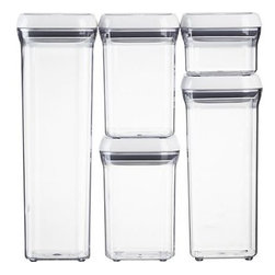 OXO® 5-Piece Pop Container Set - Customize smart storage for counter or cabinet space with OXO® sleek new stackable system. Airtight containers in different sizes and shapes strike a streamlined profile. The innovative pop-button mechanism creates an airtight seal and doubles as a handle (see additional photos).