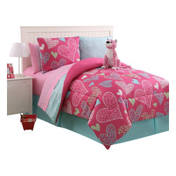 Bed In A Bag - Reversible Pink Leopard Bed in a Bag Multi-Color Bed Set with sheets - Reversible Pink Leopard Bed in a Bag Multi-Color Bed Set with sheets.  Machine Washable/ 100% Polyester.