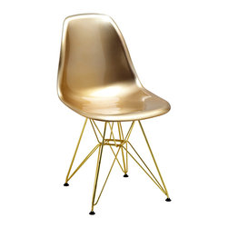 Design Lab MN - Mid Century Gold Side Chair with Gold Wire Base (Set of 5) - Based on the classic Eames DSW side chair designed in 1950 by Ray and Charles Eames. Our Mid Century Side Chair is a high quality reproduction made from polypropylene with wire base legs, this contemporary version of the legendary DSW chair is both stylish and comfortable.
