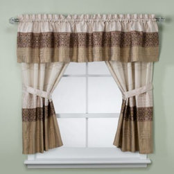 Kas - KAS Romana Bathroom Window Curtain Pair in Taupe - Give your bathroom's decor an inviting ambiance with this stylish window curtain. It conveys a chic aesthetic with a horizontally pieced layout, and is enhanced by the embroidery that adds dimension and surface interest.