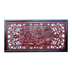 Golden Lotus - Chinese Eight Immortal Scenery Red Painted Wall Panel - This wall panel has the center theme of traditional Chinese mythical story group - eight immortial. It is decorated with red paint color which enriches and shows off the carving.