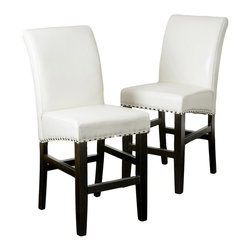 Great Deal Furniture - Clifton Leather Counter Stool (Set of 2), Ivory - The Clifton leather counter stool is great for your kitchen, bar or dining space. It is upholstered in beautiful, soft bonded leather, and its seat is embellished with studded accents and a dark metal kick-plate. You will enjoy the look and feel of this stool.