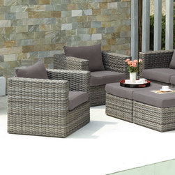 Upton Home - Upton Home Brixton Outdoor Wicker Chair and Ottoman 4pc Set - Freshen up your outdoor space with this comfortable,Euro-style deep seating set complete with two chairs,two ottomans,and two throw pillows. The set features outdoor resistant fabric in a versatile shade of gray.