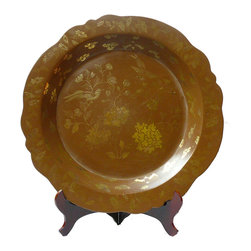 """Chinese Hand Painted Golden Flower Birds Lacquer Display Disc - This is a decorative paper brown lacquer plate with traditional Chinese art technique """"miaojin"""" which means outlining in gold color. (stand may be different from shown)"""