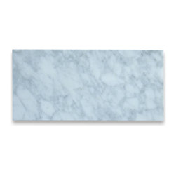 Stone Center Corp - Carrara White Marble Subway Tile 6x12 Honed - Premium Grade Carrara Marble Italian White Bianco Carrera Honed 6 x 12 Wall & Floor Tiles are perfect for any interior/exterior projects such as kitchen backsplash, bathroom flooring, shower surround, countertop, dining room, hall, lobby, corridor, balcony, terrace, spa, pool, etc. Our large selection of coordinating products is available and includes hexagon, herringbone, basketweave mosaics, 12x12, 18x18, 24x24 tiles, moldings, borders, and more.