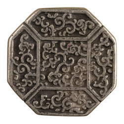 """Anne At Home - 1 1/4"""" Asian Octagonal Knob (Set of 10) (Weathered White) - Finish: Weathered White. Hand cast and finished. Made in the USA. Pewter with brass insert. Collection: Asian. 1.25 in. L x 1.25 in. W x 0.75 in. H"""