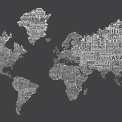 """1-World Text Map Wall Decal - Inverse Grey - 67"""" x 36"""" - A modern and bold new world map! The 1-World Text Map Wall Mural features the continents of the world filled with the text of the country, city and place names, making it a modern and unique decorative map for your home or office. Available on a convenient peel & stick fabric. The peel & stick wall decal is printed on a high quality self-adhesive fabric material, making it easy to mount on any clean, smooth surface. It can be removed and repositioned with ease and without damage to the walls. A great way to give an interior space the impact of a mural without the mess and hassle of paste."""