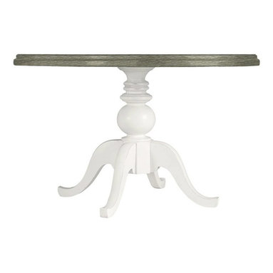 Stanley Furniture - Coastal Living Retreat-Round Pedestal Table Wood Top - Bring the relaxation of the surf and sand indoors for a retreat from the everyday. A cerused oak table top give this pedestal table beachy character and style.