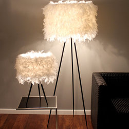 Audubon Table Lamp - Fluffy and eco-friendly, the Audubon Table Lamp is the perfect accent for your home or office! Soft and inviting, this modern design is enhanced by an array of artificial yet realistic feathers. Perfect for the nature-lover in us all! Pair with the Audubon Floor Lamp for a matching set.