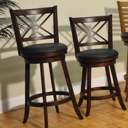 "ECI Furniture - ""Double X Back 24"""" Swivel Pub Stool - Distressed Walnut - Set of 2"" - ""Stunning distressed walnut finish, 24"""" height double X-back swivel stool that is truly functional and will add style and class to your decor."