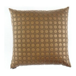 "Canaan - 24"" x 24"" Love Game Bronze Circles Pattern Print Fabric Throw Pillow - 24"" x 24"" Love game bronze circles pattern print fabric throw pillow with a feather/down insert and zippered removable cover. These pillows feature a zippered removable 24"" x 24"" cover with a feather/down insert. Measures 24"" x 24"". These are custom made in the U.S.A and take 4-6 weeks lead time for production."