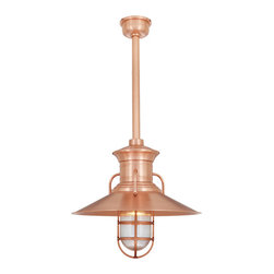"THE MOONSHINER STEM MOUNT CEILING LIGHT - 20"" Moonshiner shown in 48-Raw Copper Finish with CGU-RIB Accessory, BLO-3/4"" ST"