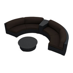 Harmonia Living - Urbana Eclipse 4 Piece Round Sectional Set, Coffee Bean Wicker, Coffee - Create the perfect outdoor gathering with the Harmonia Living Urbana Eclipse 4 Piece Modern Patio Round Sectional Sofa Set with Brown Sunbrella cushions (SKU HL-URBN-E-4SECT-CO), featuring clean curves and brushed aluminum feet. This modern round sofa's seating is a great match for patios with fire pits or circular tables. The seats are made of High-Density Polyethylene (HDPE) wicker infused with a coffee bean color and UV protection, surpassing the quality of natural rattan. Underneath the resin wicker is a thick-gauged aluminum frame, providing superior corrosion resistance. Few curved outdoor sofa sets offer this level of quality at such an affordable price. Fire pit not included.