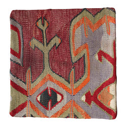 Original Hand Woven antique Kilim Imported from Turkey - Soft toned Antique Kilim Pillow Cover - Hand Woven from an Antique Turkish Kilim Carpet, this pillow cover has a Wool front and cotton back with Zipper entry.  Please note:  pillow insert not included.