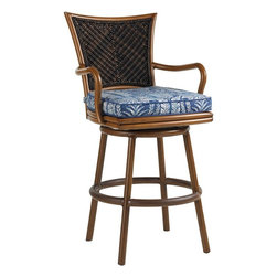 Lexington - Tommy Bahama Island Estate Lanai Swivel Bar Stool - This bar stool is the perfect height for the 38 inch diameter bistro table or may be ideal for your built-in bar. The protected kickplate ensures the guest receives a proper lift or support without leaving evidence via scuff marks.