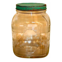 Pressed Glass Jar - Wonderful vintage jar with an aqua blue lid.really clean and bright with beautiful founded corners.