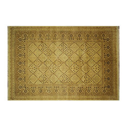 """Manhattan Rugs - New Pure Wool Hand Knotted Ivory Chobi Mahal Zieglar Floral Area Rug H6274 - The word """"chobi"""" itself is Farsi for """"color like wood."""" Our Chobis tend to have large geometric floral patterns and they are all hand knotted of hand spun wool. The dyes are made entirely from hand gathered fruits, vegetables, roots, tree barks and dried fruit shells, making Chobis the most labor-intensive of all of our carpets. Natural Dye Chobis are renowned for their lanolin-rich luster and stunning natural coloring. Their colors range from soft muted tans, browns to rich coppers, deep maroons, and sage greens. Our natural dyeing techniques have been refined over the years to ensure a natural dye that is steadfast and long-lasting. A special heirloom wash produces the subtle color variations that give rugs their distinctive antique look."""