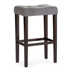 Finley Home - Palazzo 32 in. Saddle Stool - Grey Multicolor - D1482.0077-MP - Shop for Stools from Hayneedle.com! The Palazzo 32 in. Saddle Stool - Grey lends casual comfort and contemporary sophistication to your tall standing table. At 32 inches tall this saddle stool is perfect for a variety of settings. It's a contemporary take on a classic design with a comfortably curved saddle style seat. Grey microfiber fabric upholstery is graced with subtle box stitching and button tufting. It's a sophisticated contrast to the straight legs finished in dark espresso. The Palazzo Saddle Stool is built to last on a solid birch wood frame and footrest stretchers for stability and comfort. The plush padded seat offers stylish comfort. This stool is designed for residential use only. About Finley HomeFinley Home was created to ensure that your needs wants and desires regarding home furnishings and decor are met with ease. Offering a well-appointed mix of both current and classic designs all with functional style at exceptionally affordable prices Finley Home's unique pieces and collections are ideal for keeping pace with today's ever-evolving lifestyles. Simple silhouettes understated elegance and versatility define the Finley Home brand and make it one you'll return to for years to come.