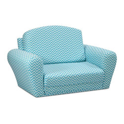 """Kidz World - Kidz World Cosmo Sleepover Sofa in Girly Blue - This fabric is a new addition to our line of Kidz World Designer Sleepover/Sofas and it features the same quality construction as all of our Sleepover/Sofas. It is upholstered in a 7 oz. cotton duck cloth in a """"zigzag"""" geometric pattern in white and aqua. This popular pattern design is very popular now and the color way makes a great accent piece in any room as a place to curl up and play with friends take a nap on the pull-out surface or just enjoying while lying down and resting."""