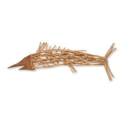 Palecek - Driftwood Sword Fish - Acacia wood fish with metal hangers to hang.
