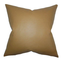 The Pillow Collection - Quintas Neutral 18 x 18 Solid Throw Pillow - - Pillows have hidden zippers for easy removal and cleaning  - Reversible pillow with same fabric on both sides  - Comes standard with a 5/95 feather blend pillow insert  - All four sides have a clean knife-edge finish  - Pillow insert is 19 x 19 to ensure a tight and generous fit  - Cover and insert made in the USA  - Spot clean and Dry cleaning recommended  - Fill Material: 5/95 down feather blend The Pillow Collection - P18-MVT-1292-KHAKI-FAUXLEATHER