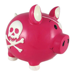 Large Pink Skull and Crossbones Pig Piggy Bank Pirate - This adorable hot pink cold cast resin pirate pig money bank really brightens up a room. The bank features a white Jolly Roger skull and crossbones on each side, and the pig is wearing an eye patch. The pig measures 8 inches tall, 9 inches long and 6 inches wide. The bank empties via a twist-off plastic piece on the bottom. This bank is hand-painted, and makes a great gift for pig or pirate lovers.