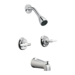 DHI-Corp - Aberdeen 2-Handle Tub and Shower Faucet, Polished Chrome - The Design House 525543 Aberdeen 2-Handle Tub and Shower Faucet features a dual handle design to easily adjust the temperature in your shower or bathtub. Finished in polished chrome, this faucet is refined and elegant with a washerless cartridge. Easy to install and maintain, this set is classic with a traditional configuration with a modern flair that can easily match any color scheme or style in your bathroom. Washerless construction reduces leakage problems that can result from worn washers, while the simple design aids in low-maintenance upkeep. The 2.2-gallon per minute flow rate ensures a steady water flow after years of everyday use and is UPC, ADA and cUPC compliant. This faucet has a brass valve body, ABS showerhead, metal shower arm, flange and zinc spout and a quarter turn stop lever handle operation. The pull-up diverter spout will quickly disperse water out of the shower head. The Design House 525543 Aberdeen 2-Handle Tub and Shower Faucet comes with a lifetime limited warranty that protects against defects in materials and workmanship. Design House offers products in multiple home decor categories including lighting, ceiling fans, hardware and plumbing products. With years of hands-on experience, Design House understands every aspect of the home decor industry, and devotes itself to providing quality products across the home decor spectrum. Providing value to their customers, Design House uses industry leading merchandising solutions and innovative programs. Design House is committed to providing high quality products for your home improvement projects.