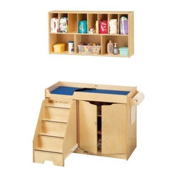 Jonti-Craft Changing Station with Wood Top - The Jonti-Craft Changing Station with Wood Top helps you streamline the diaper changing process in your daycare so you and your little charge can get back to the fun quickly. A set of stairs lets toddlers climb up to the platform themselves saving your back from undue strain. The stairs glide back under the table when not in use so they won't get in the way. The extra deep rails on top exceed recommended safety standards for supreme security and a safety strap and blue changing pad are also included.Everything you need for diaper duty is easily accessible on this changer. The bottom cabinet protects three generous supply shelves one fixed and two adjustable. The included paper roll dispenser can be attached to either end of the table and accommodates a 15 inch paper roll to improve hygeine. To create a complete changing station add the large wall mounted organizer to store all your diapering necessities. The divided shelving unit can be installed above the table to keep frequently used items neat and close at hand.Made of sturdy birch wood the stationary changer and the wall unit have been constructed using an innovative dowel pin technique to increase the strength of the furniture by 30%. Rounded KydzSafe edges prevent injury while KydzHinges run the length of the cabinet doors and are designed to prevent pinching little fingers. The KydzTuff finish is the same as the coating used on gym floors and resists stains won't yellow and is easy to clean.About Jonti-CraftFamily-owned and operated out of Wabasso Minn. Jonti-Craft is a leading provider of quality furniture for the early learning market. They offer a wide selection of creatively designed products in both wood and laminate materials. Their products are packed with features that make them safe functional and affordable. Jonti-Craft products are built using the strongest construction techniques available to ensure that your furniture purchase will last a lifetime.